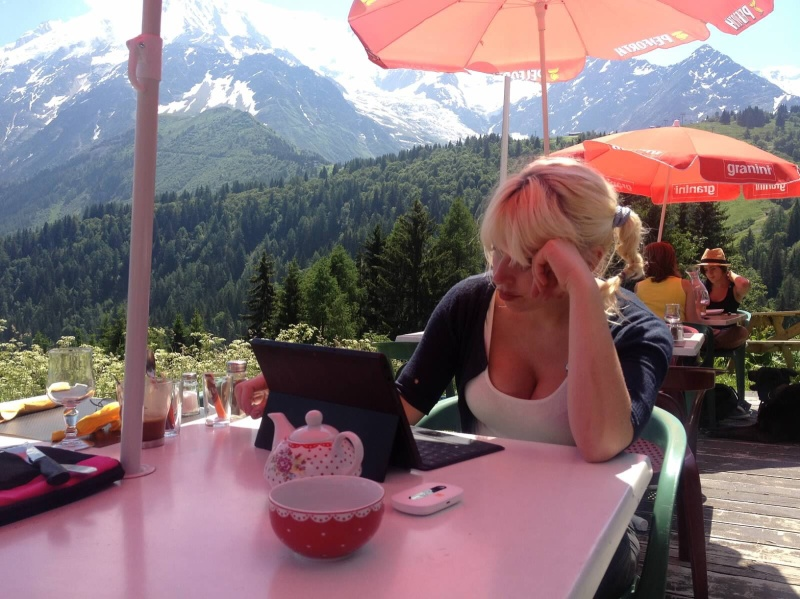Telecommuting from a cafe in the French Alps